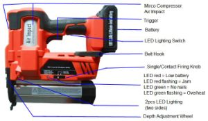 18V Li-ion Air Cordless Nailer 18 Gauge Nails 50mm pictures & photos