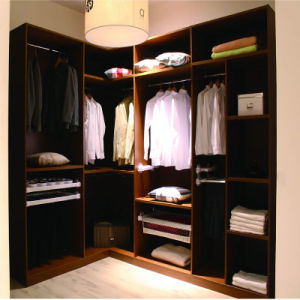 cheap l shaped wood wardrobe with sliding door and opening shelves