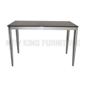 Modern Black Temper Glass Top with Cone Steel Foot Dining Table (NK-DT026)