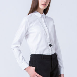 Wholesale New Pattern Ladies Long Sleeve White Formal Shirt Design pictures & photos