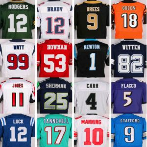 American Football Jersey Wholesale in Any Team with Super Bowl Patch Stitched Anniversary Captain C Accept Mix Order Men Women Yough Baby Blue Red White Black