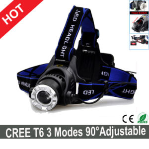 Hot Sale CREE T6 LED Headlamp 3 Modes Adjustable for Head pictures & photos