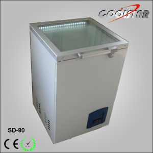 Top Open Glass Door Ice Cream Display Freezer with Thick Foaming Layer (SD-80) pictures & photos