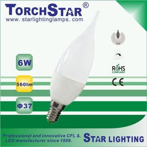 Aluminum Plastic 6W F37 LED Bulb with 270 Degree Beam Angle