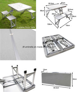 Aluminium Folding Table with Bench, Outdoor Picnic Folding Table