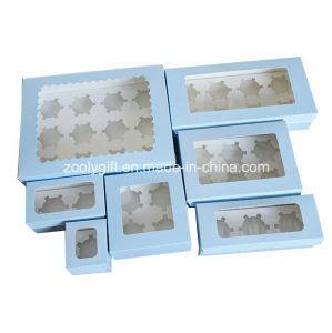 Take-out Paper Cupcake Box / Printed Cardboard Paper Cupcake Box with Insert and Clear Window pictures & photos