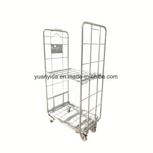 Euro Mesh Pallet Roll Container for Warehouse Storage Steel Trolley pictures & photos
