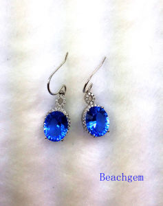 Fashion Blue Quartz Sterling Silver Earrings (E1692)