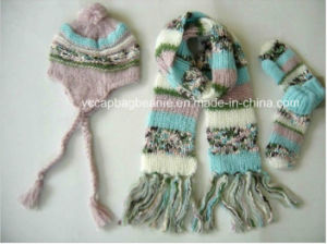 Warm Knit Ear Flap Hat Scarf Glove Sets pictures & photos