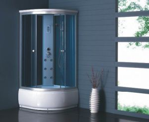 2014 Corner Shower Room with Bule Glass (MJY-8032)