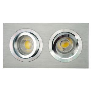 Lathe Aluminum GU10 MR16 Multi-Angle 2 Units Square Tilt Recessed LED Spotlight (LT2301-2) pictures & photos