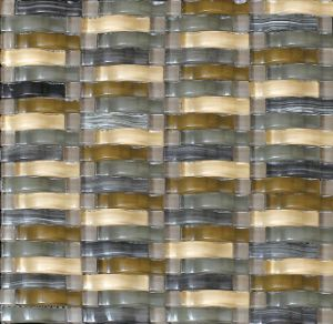 Bent Strip Glass Mosaic and Beige Stone Marble Mosaic (M855029) pictures & photos