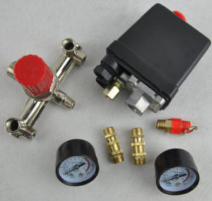 Air Compressor Pressure Valve Switch Manifold Relief Regulator Gauges 180psi 240V 45X75X80mm Popular pictures & photos