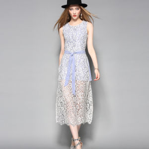 Sleeveless Hollow Lace Hemline Slit Cotton Women Dress with Belt pictures & photos