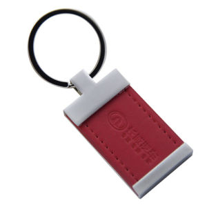 Promotion Metal PU Leather Keyring with Custom Logo (F3029)