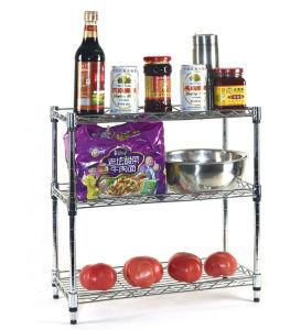 Adjustable 3 Tier Mini Chrome Metal Kitchen Shelf Rack Organizer on Table pictures & photos