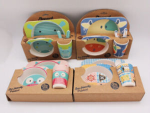BPA Free Cute Bamboo Fiber Kids Set (YK-KS0124) pictures & photos