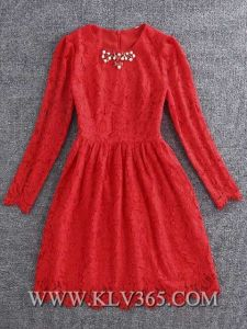 New Fashion Ladies Long Sleeve Sweet Lace Cocktail Dress pictures & photos