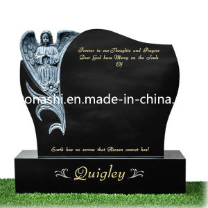 Black Grey Granite Stone Carved Grave Tombstone Headstone with Angel pictures & photos