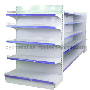 Gondola Display Shelves in Dark Gray with Front and Side Wire Stopper pictures & photos