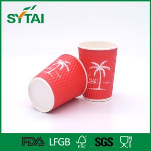 Custom Logo Printed Disposable Double Wall Hot Drink Paper Cups with Lid pictures & photos