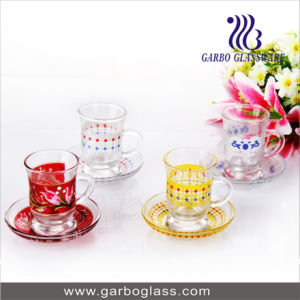 Glass Tableware Color Glass Coffee Cup and Saucer Set pictures & photos