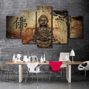 HD Printed Buddha Group Painting on Canvas Room Decoration Print Poster Picture Canvas Framed Mc-013 pictures & photos