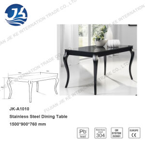 Europe Cabriole-Style Stainless Steel Dining Table with Black Glass pictures & photos