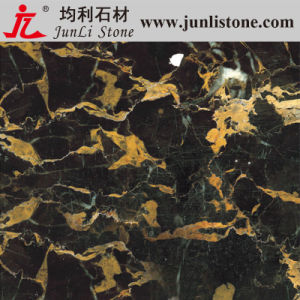 Polished Black Golden Flower Composite Marble Tile for Countertops, Flooring