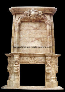 Yellow Marble Lion Head Fireplace (L1-28) pictures & photos