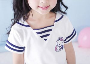 Summer Lovely Cartoons Little Girl′s Sailor Suit Dress pictures & photos