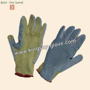 Reinforced Cow Leather Palm Aramid Knitted Cut Resistance Glove pictures & photos