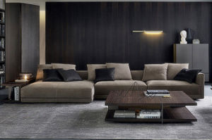 Living Room Furniture Italy Modern L Shape Sectional Fabric Sofa (corner sofa) pictures & photos