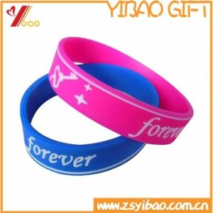 Custom 1/2 Inch Silk Screen Printed Logo Silicone Wristband for Promotion (XY-SW-001) pictures & photos