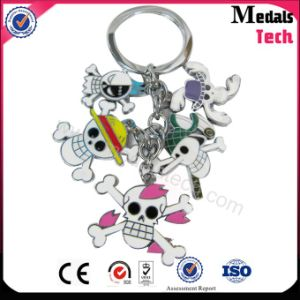 Fashion Custom Metal Skull Keychain with Color Filled pictures & photos