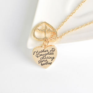 Promotional Gift Mother & Daughter Mother′s Day Broken Heart and Heartbeat Pendant Necklace Jewelry Gift pictures & photos