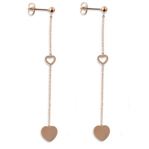 Customized Jewelry Fashion Women Stainless Steel Heart Drop Long Earrings pictures & photos