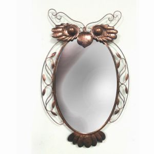 Unique Rusty Finish Metal Owl Shaped Mirror Craft