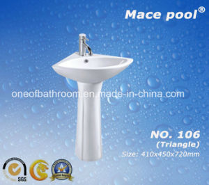 Triangle Shape Wash Basin with Pedestal Type (106) pictures & photos