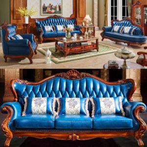 Leather Sofa with Wooden Sofa Frame and Table (D508) pictures & photos