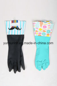 Long Cuff Rubber Household Gloves with Cotton Fibre Inside pictures & photos