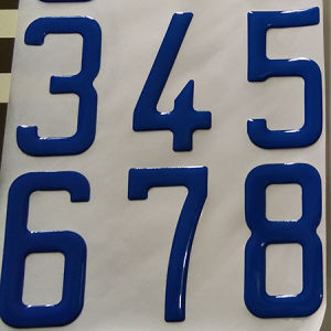Custom Adhesive Epoxy Number Letter Sticker Blue 73mm pictures & photos