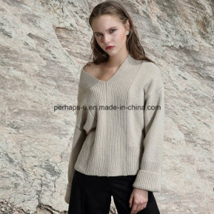 Korean Knit Loosely V-Neck Sweater Rice-White Lazy Sweaters pictures & photos