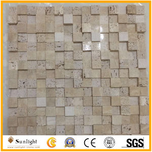 Tumbled Beige/Yellow Travertine Mosaic for Bathroom Wall Decoration pictures & photos