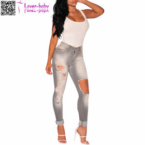 2017 Factory Hot Sale Fashion Gray Destroyed Skinny Jeans L552 pictures & photos
