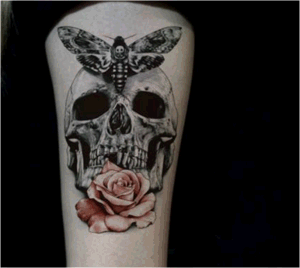 Skull Rose Temporary Waterproof Tattoo Sticker Art Tattoo Sticker