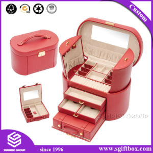 Luxury Handmade Custom Packaging Jewelry Leather Box with Mirror pictures & photos