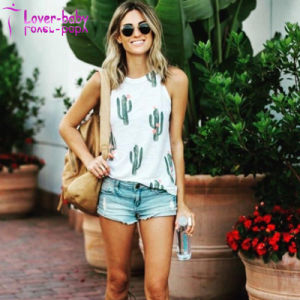 Women Sleeveless Print Cactus Tank Tops Casual Blouse T Shirt L597 pictures & photos