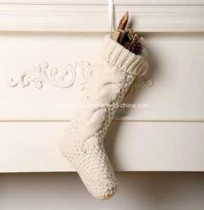 Elegant 100% Acrylic Handmade Knit Christmas Stocking Decoration pictures & photos