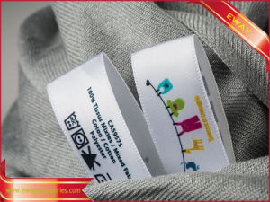 Custom Printed Main Tag Garment Printed Fabric Tag pictures & photos